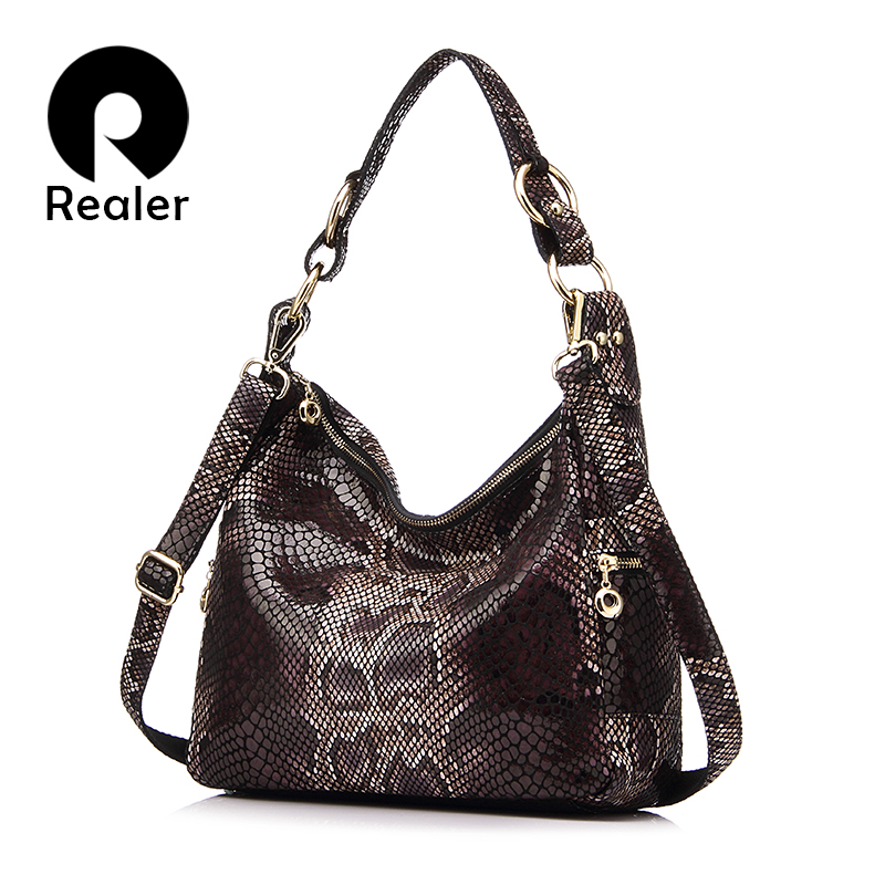 REALER women handbag genuine leather totes female classic serpentine prints shoulder crossbody bag ladies handbags messenger bag yuanyu 2018 new hot free shipping python skin women handbag single shoulder bag inclined female bag serpentine women bag