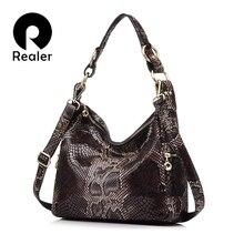 REALER frauen handtasche aus echtem leder totes weibliche klassiker serpentin drucke schulter crossbody tasche damen handtaschen umhängetasche