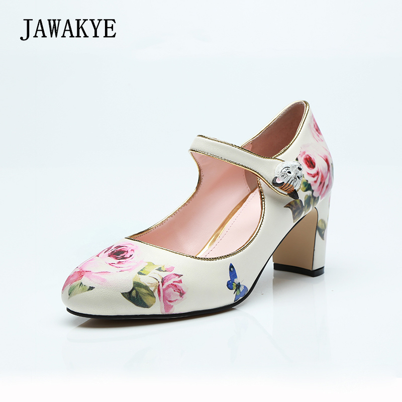 JAWAKYE Print Flowers Middle heel Women Pumps Buckle trendy retro Chunky high heel shoes Woman White Wedding Shoes Party shoes френч пресс 0 8 л vitesse vs 2612