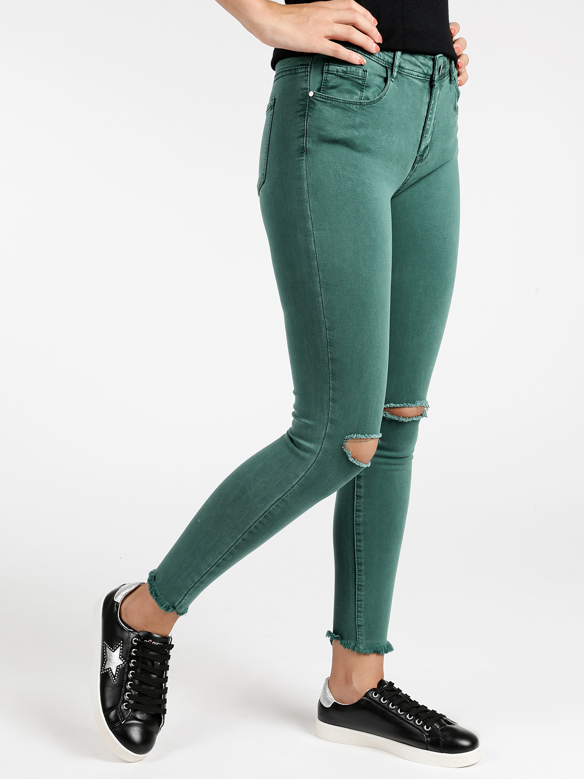 Woman Skinny Jeans Ripped Fashion Casual Trousers