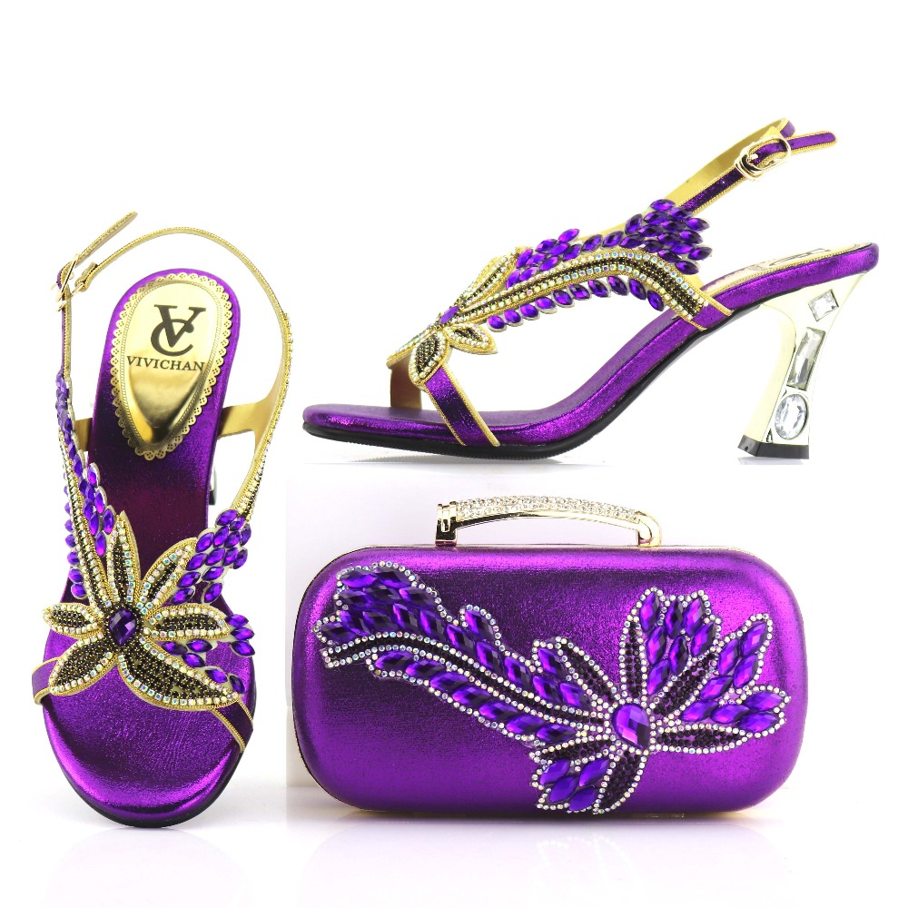Nice shoes and bag to match women sandal shoes and clutches bag elegant rhinestones shoes bag matching set in purple SB8204-4