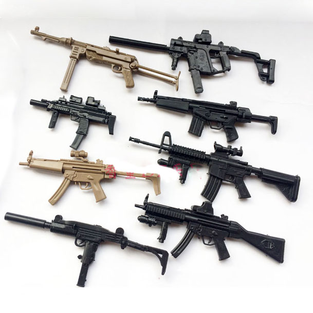 1:6 Assemble Gun 1 / 6 Weapon Model MP5 MP40 UZI Submachine Gun  Plastic Gun Military Simulation Toys Color Random