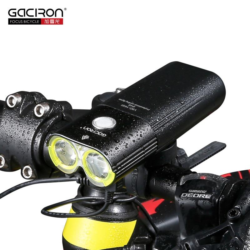GACIRON Professional 1600 Lumens Bike Bicycle Light 5000mAh 18650 Power Bank Waterproof USB Rechargeable Bike Light Flashlight gaciron v9d 1800 bicycle light 1800lumens usb rechargeable 6700mah power bank bike light cycling