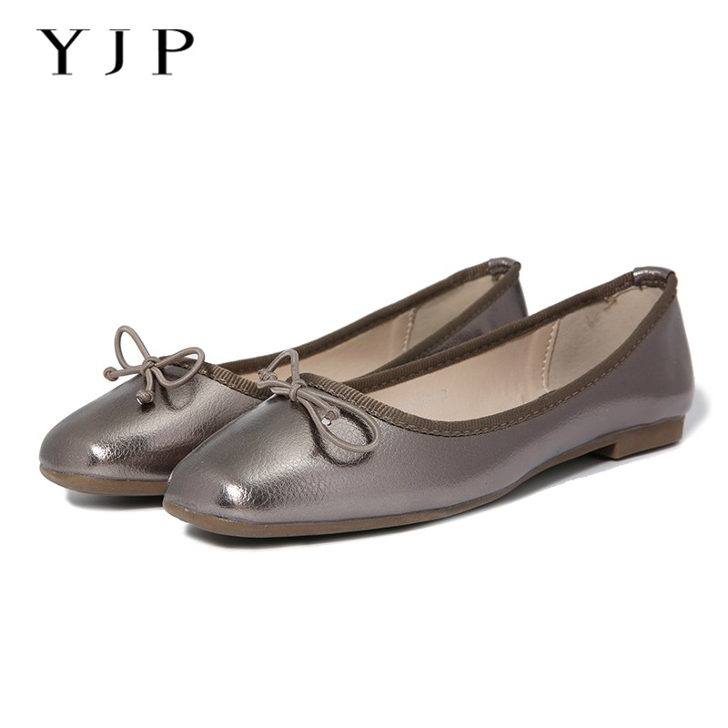 YJP Women Ballet Flats, Black/Gold/Gun Silver Bowknot Ballerina Flat Shoes, Ladies Square Toe Slip On, Sweet Women Shoes odetina 2017 new women pointed metal toe loafers women ballerina flats black ladies slip on flats plus size spring casual shoes