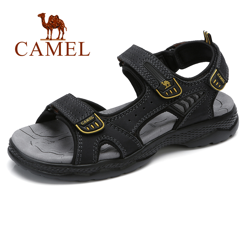 CAMEL Men's Sandals Summer Comfortable Soft Light Cushioning bottom Genuine Leather Beach Men sandalias hombre-in Men's Sandals from Shoes    1