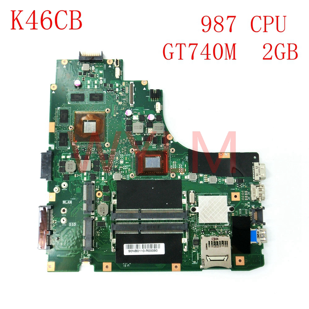 K46CB With 987CPU GT740M 2GB mainboard For ASUS A46C K46C K46CB K46CM laptop motherboard 100% Tested Working Well board for 250 044 901d 2gb dae lcc well tested working