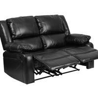 Flash Furniture Harmony Series Black Leather Loveseat With Two Built In Recliners