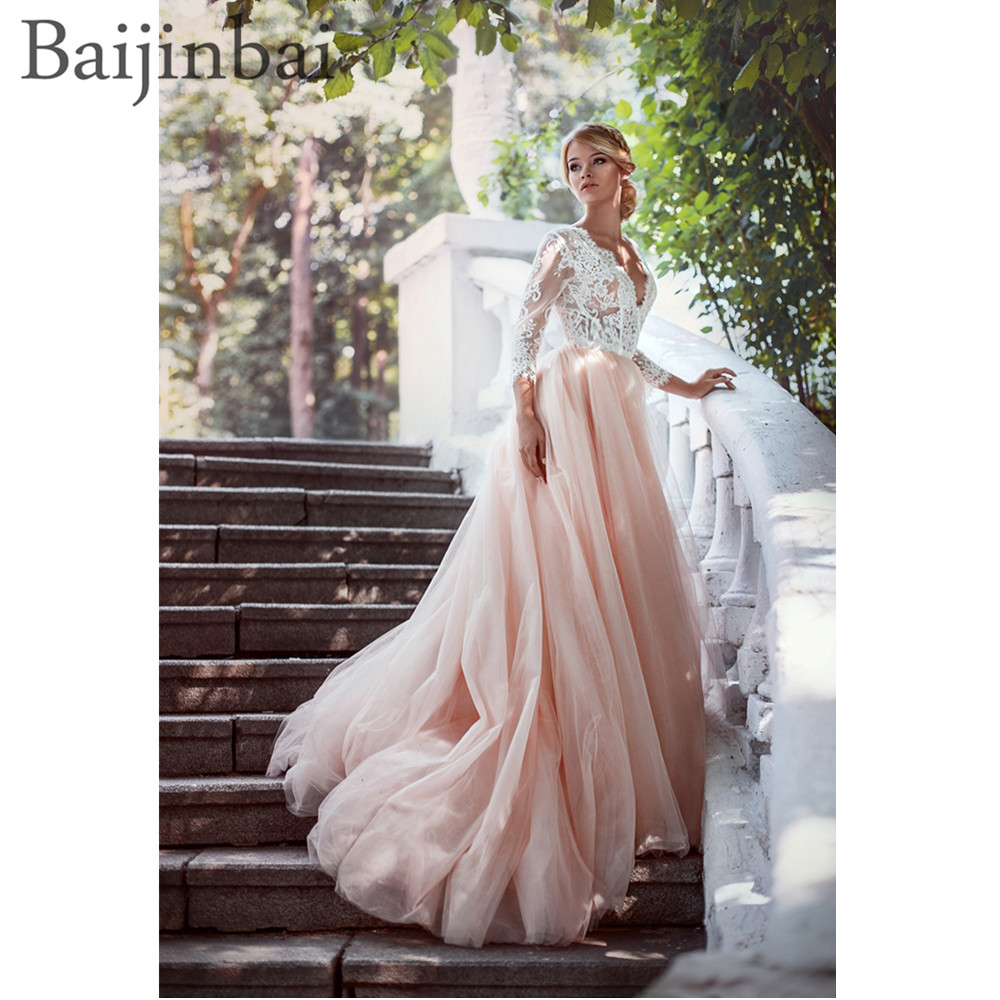 Weddings & Events Baijinbai A Line Tulle Wedding Dresses Appliques Lace 3/4 Long Sleeves Deep V Neck Vestido De Novia Bridal Gowns Back Zipper Jade White