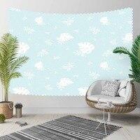 آخر الأزرق الطابق على الأبيض الزهور يترك 3D طباعة الزخرفية Hippi البوهيمي جدار شنقا المشهد نسيج جدار الفن-في المفروشات الزخرفية من المنزل والحديقة على
