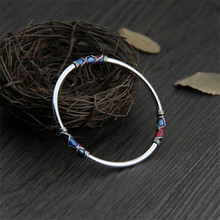 Classic Women Bracelet Bangle With Blue & Red Enamel Heart Pattern 925 Sterling Silver Bracelets Fashion Jewelry Gift For Lovers