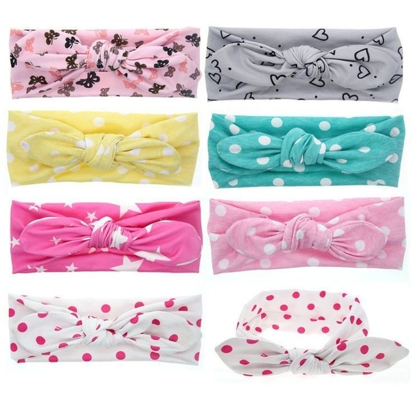 2019 Newborn Infant Baby Headbands Dot Printed Soft Cotton Casual Headwear Bow Cute Toddler Boys Girls Headband Accessories New