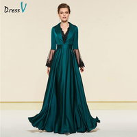 Dressv elegant emerald long sleeves v neck mother of bride dress zipper up floor length long mother evening gown dresses custom