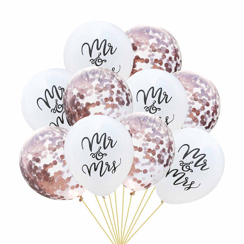 10 PCs 12 inch 10 inch Latex Mr. Mrs. Letter Printed Balloons Confetti Glitter Shiny Wedding Party Engagement Decorations