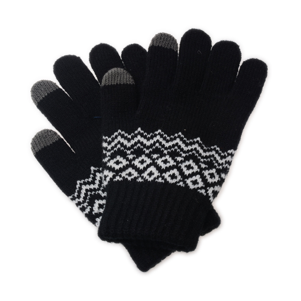 Men Winter Touchscreen Thick Knit Gloves with Warm Lining Texting for Smartphone