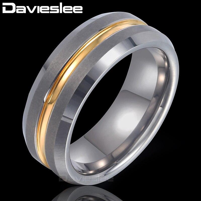 Davieslee Gold Silver Stripe Band Ring Mens Boys Wedding Engagement Tungsten Carbide Silver Black 8mm DTRM01