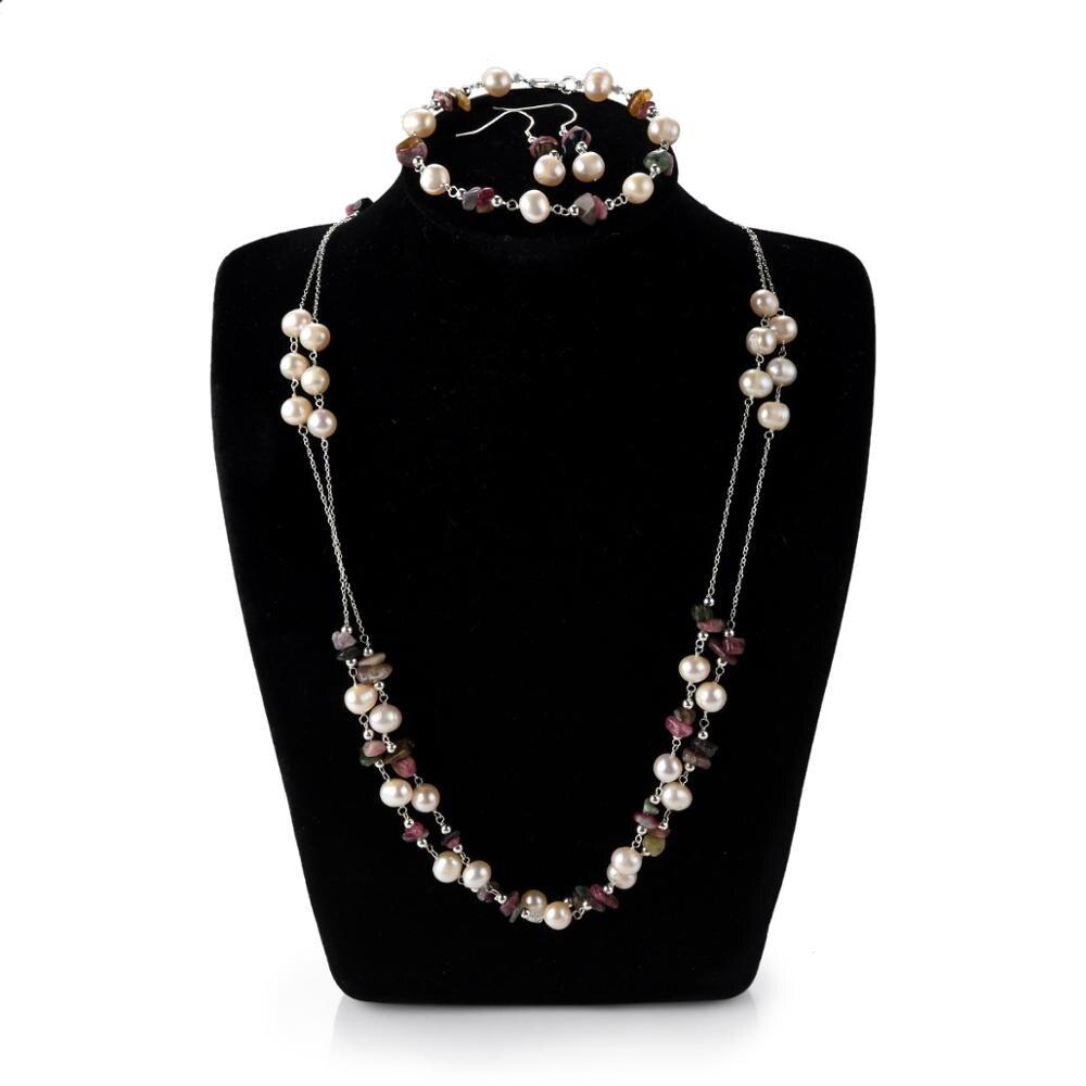 CKKU bijoux collier de perles d'eau douce avec pendentif en pierre verte en forme de goutte et boucles d'oreilles pendantes ensemble de bijoux PD425 - 5