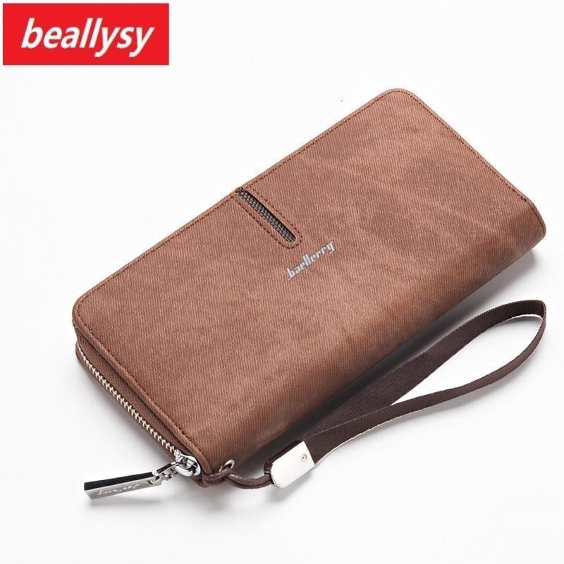 Brand Design Men Wallets vintage genuine canvas Men purse Coin Purse High Capacity Clutch wallet Male Wrist Strap phone Wallet