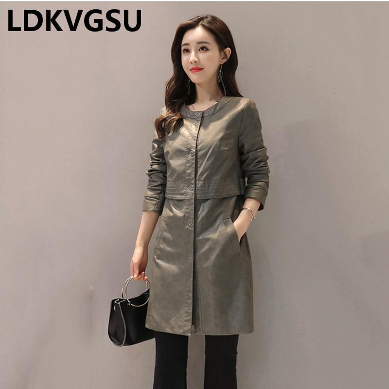2018 Autumn Winter New Women Long PU   Leather   Windbreaker Large Size Long Sleeves Single Breasted Female   Leather   Jacket Is490