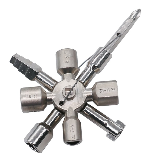 10 in 1 Multifunction Electrician Plumber Utility Cross Switch Wrench Universal Square Triangle Key for Gas Train Bleed Radiator