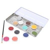Nueva Paleta de Maquillaje de Halloween 12 Colores Cuerpo Pintura de La Cara de Aceite Flash Del Tatuaje Pigmento Con Caja de Escobillas Para la Fiesta de Navidad de Lujo vestido