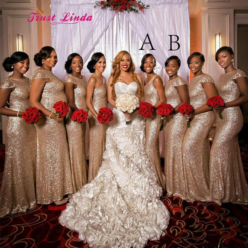 African Wedding Bridesmaid Dresses Rose Gold Bridesmaid Dress Cap Sleeves  Floor Length Mermaid Sequin Bridesmaid Dresses b9e8b2fc4875
