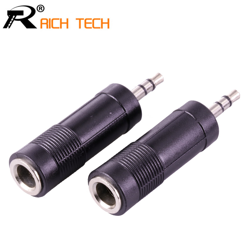 3Pcs Jack 6.3mm Stereo Socket To Plug 3.5 Adapter Nickle Speaker Plug 3.5mm Stereo Plug High Quality Plastic Audio Connector