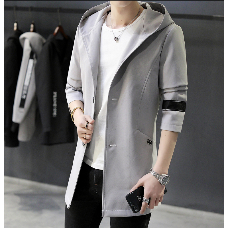 Model New Hoodied Lengthy Trench Coat Males Lengthy Clothes Male Black Gray Trench Coat Windbreaker Jackets Plus Dimension 3Xl 5Xl