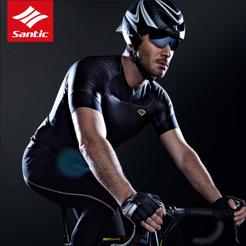 Santic 2018 Men Cycling Short Jersey New Pro Team Racing Short Sleeve Cool Breathable Road MTB Bike Jersey High quality Fabric hot cheji men bike long jersey pants sets hornets black pro team cycling clothing riding mtb wear long sleeve shirts