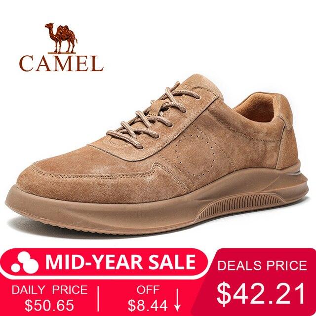 ラクダ春夏質感革紳士靴のレースアップ屋外カジュアルシューズ厚底ステッチ非潮男性の靴