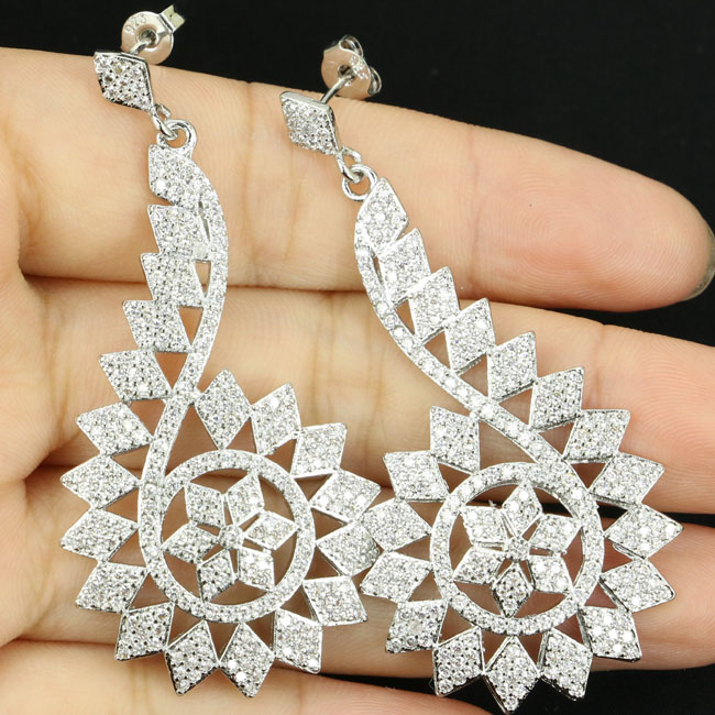 New Arrival Long Big 9.0g White Cubic Zirconia Woman's Wedding Silver Earrings 55x27mm