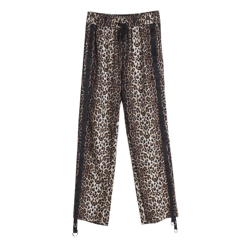Calle Casuales Leopardo Cinta Cordón A Bf blanco Pantalones Negro Patchwork Cuadros Estampado De Quoined qwRXCdP