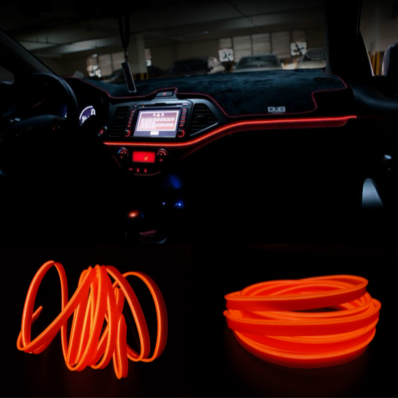 JURUS 1 Meter Atmosphere Lamp Car Ambient Light Cold Light Line Decorative Dashboard Interior Door Type Console Lamp Car-styling