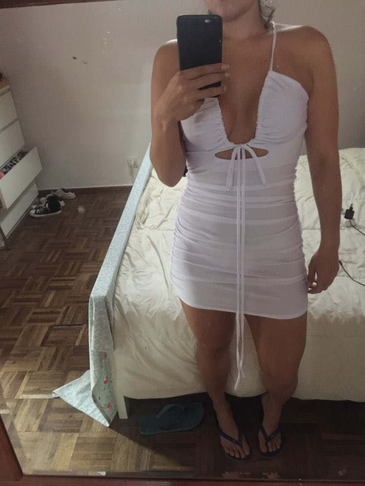 Strap Hollow Out Sexy Dress Women Criss Cross Knotted Slim Fit Bodycon Dress White Ruched Club Party Mini Dress Beach photo review