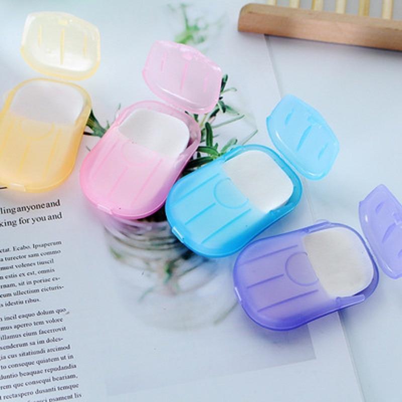 20PCS Outdoor Travel Soap Paper Portable Mini Paper Soap Washing Hand Bath Clean Scented Disposable Boxe