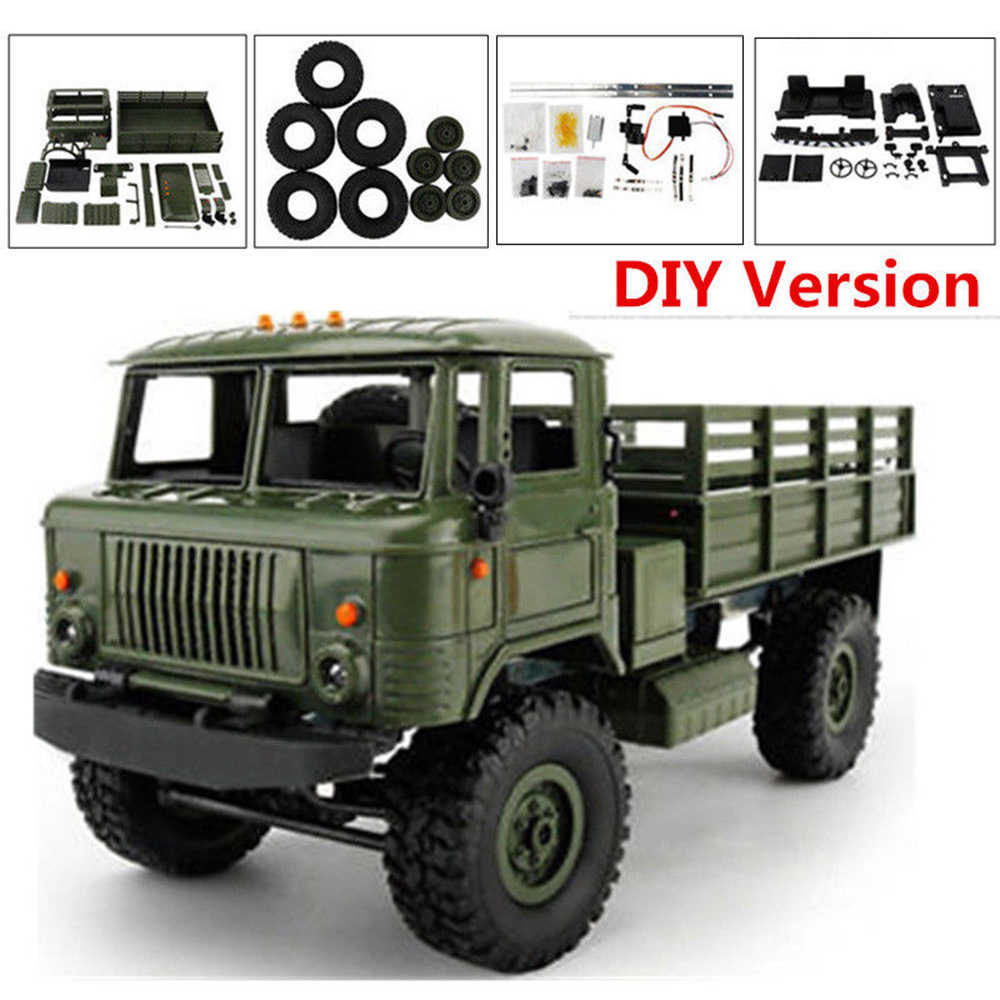 WPL B-24K 1:16 Remote Control Truk Militer DIY Set 4 Wheel Drive Off-Road RC Model Truk Remote Control mendaki Mobil Kit