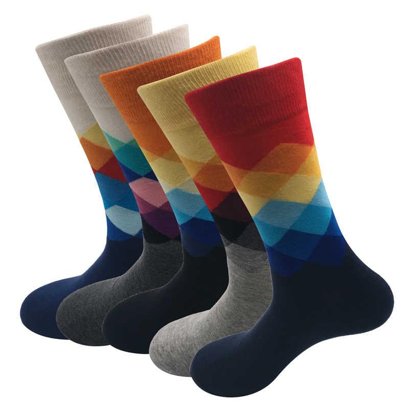 Новый стандарт увеличить размер 39-47 Повседневная coton Носки высококачественные мужские доставки Носки, красочные Носки (5 пар/лот) остроумие