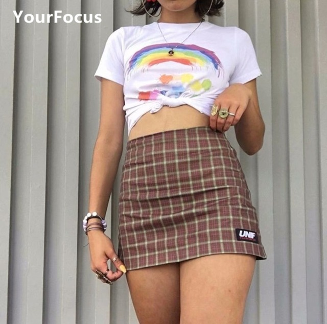 a5dcd7c4bf91 Streetwear vintage harajuku korean sweet cute girl unif style soil orange  color plaid mini short skirt high waist skirt