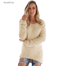 2017 Giraffita Women Korean Style Solid Color Long Sleeve Loose Knitted Jumper Sweaters Pullover Tops Blusas Blouse