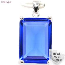 SheType 7.0g 18x13mm Rectangle Rich Blue Violet Tanzanite Gift For Ladies 925 Solid Sterling Silver Pendant 26x14mm