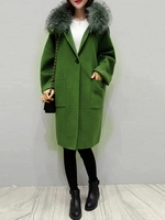 plaid women coat winter faux fur warm outwear casual mid long coat green one button loose plus size 2XL wool long coat women