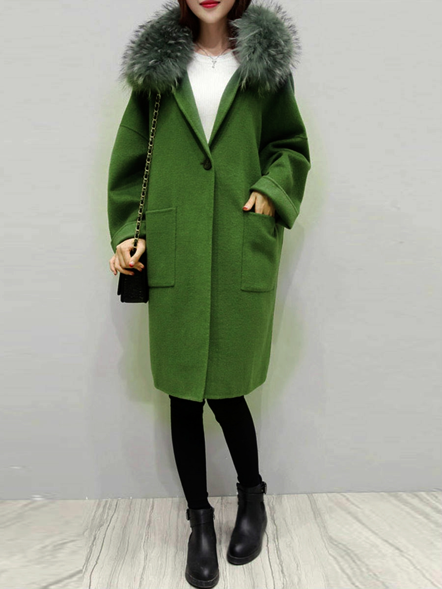 plaid women coat winter faux fur warm outwear casual mid- long-coat green one button loose plus size 2XL wool long coat women