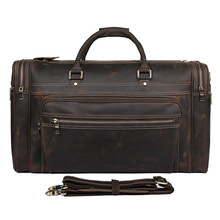 21 Travel Bag Extra Large Capacity Men Hand Luggage Duffle Bags Cow Leather Weekend Man  Business Brown