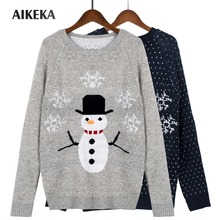 Womens Autumn Winter snowman Christmas Sweater O-Neck Pullover tight Bottoming Long Sleeve Jumpers high elastic Knitted Sweater