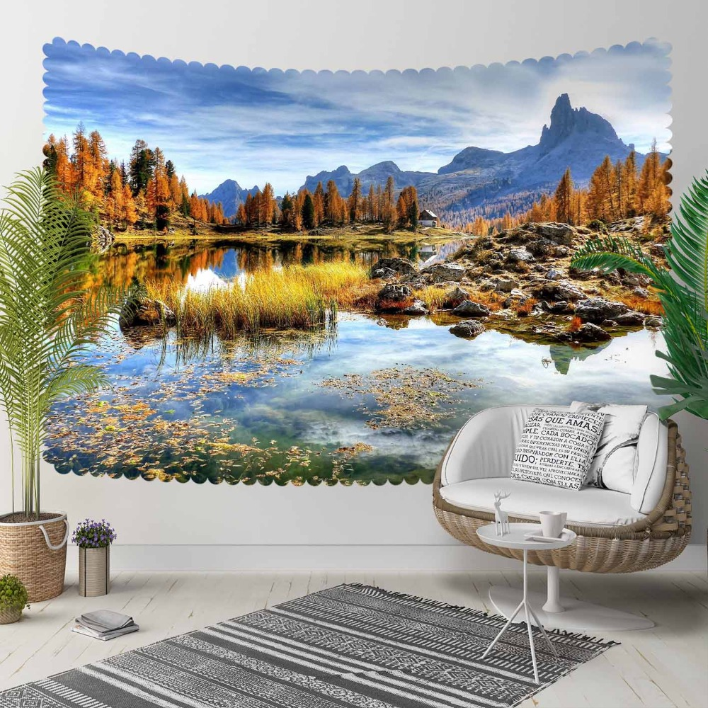 Else Green Trees Blue Lake Floral Mountains 3D Print Decorative Hippi Bohemian Wall Hanging Landscape Tapestry Wall Art