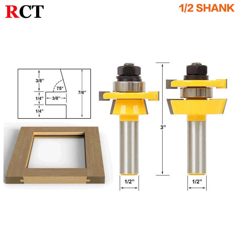 Rail & Stile Router Bit Set - Shaker 2 Pc. 1/2 Shank door knife Woodworking cutter Tenon Cutter for Woodworking Tools серьги stile italiano p0816