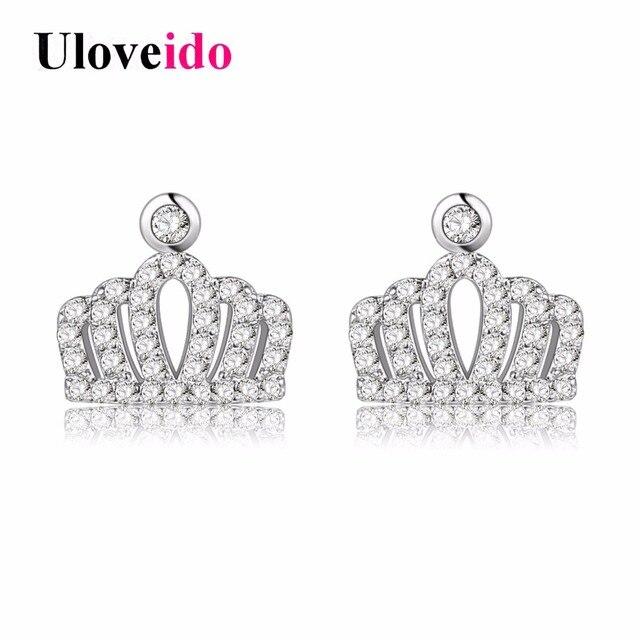 Uloveido Pair Of Princess Crown Cubic Zirconia Earrings Children Back Baby S Stud Fashion Jewelry