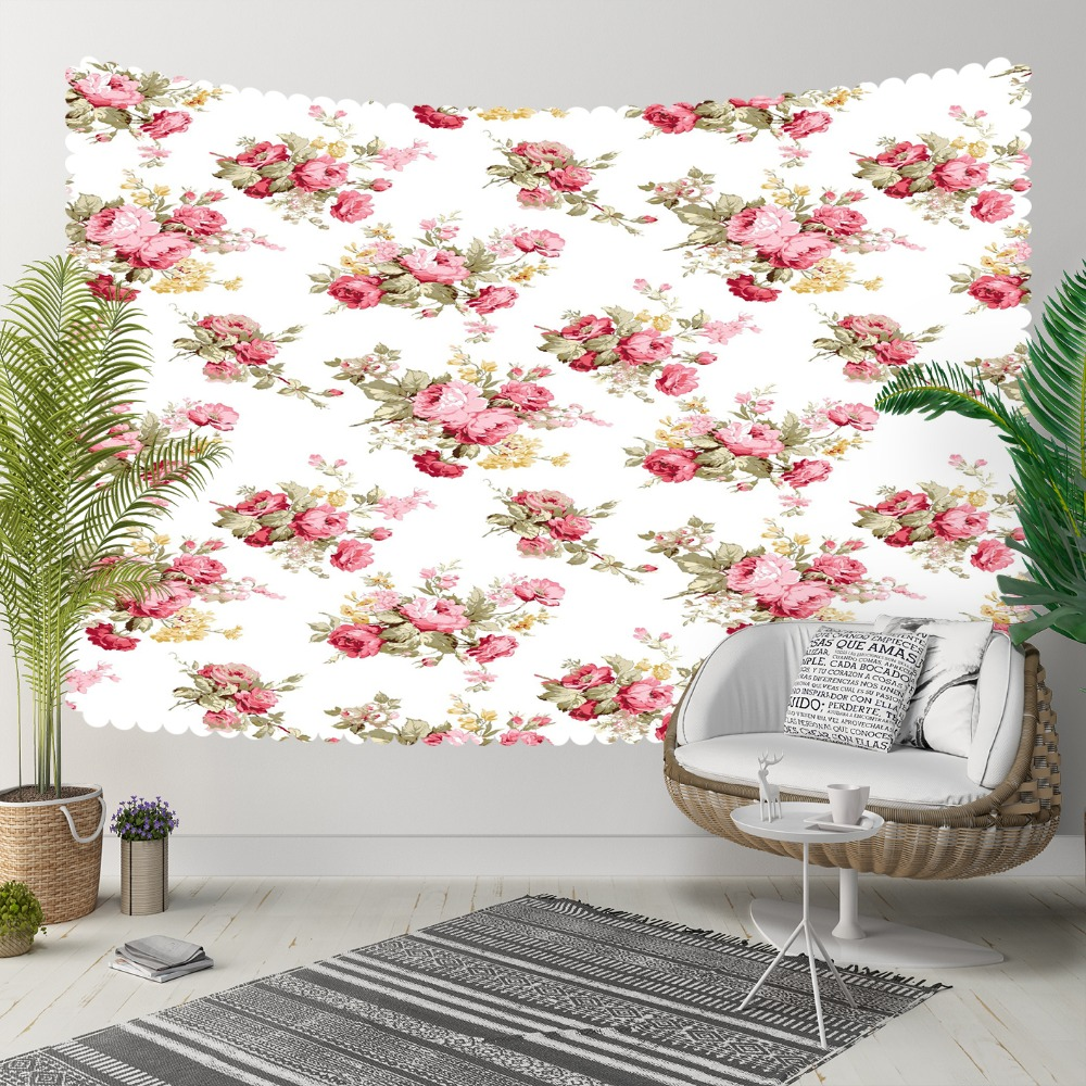 Else White Floor Pink Vintage Roses Flowers Floral 3D Print Decorative Hippi Bohemian Wall Hanging Landscape Tapestry Wall Art