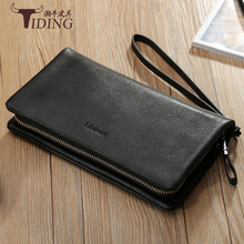 купить Luxury Brand Men Wallets Black Long Men Purse Wallet Male Clutch Cow Leather Zipper Wallet Man  Business Male Card Holders по цене 3598.5 рублей