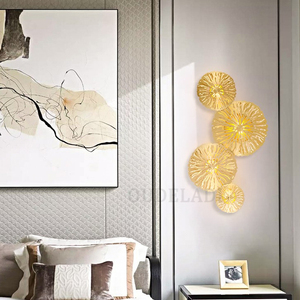 Image 4 - Modern LED Wall Sconce Light Copper hollow lotus leaf wall lamps Bedroom Kitchen Stair Home Fixtures Industrial Decor Luminaire