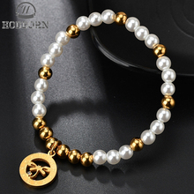 HOBBORN 2018 New White Imitation Pearl Beads Bracelet Gold Color Stainless Steel Dragonfly Charm Bracelets Women Gifts Pulseras